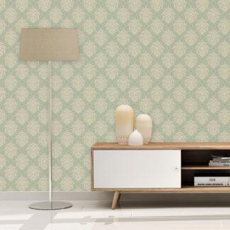 Wandtapete creme: Mint Ornamenttapete My Castle Damast Muster, Design Tapete als Wandgestaltung