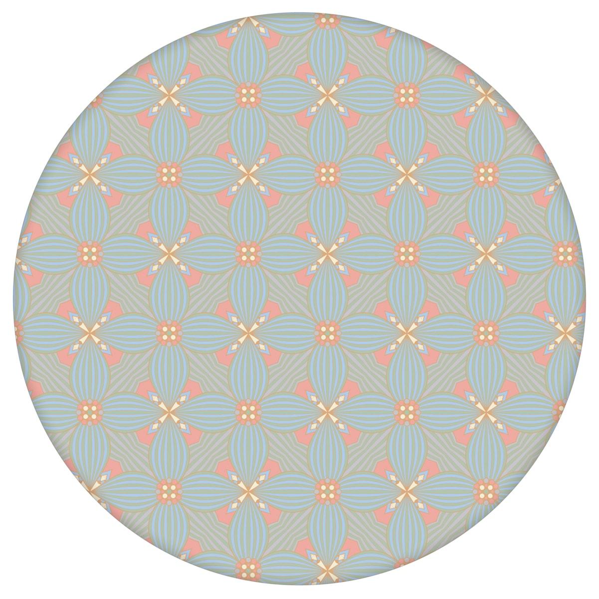 Hellblaue Ornamenttapete Art Deko Lilly Retro Muster, Design Tapete als Wandgestaltung aus den Tapeten Neuheiten Exklusive Tapete für schönes Wohnen als Naturaltouch Luxus Vliestapete oder Basic Vliestapete