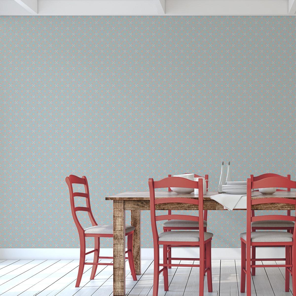 Hellblaue Ornamenttapete Art Deko Lilly Retro Muster, Design Tapete als Wandgestaltung 2