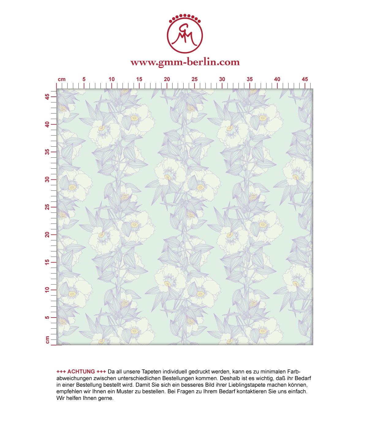 Flieder Blumentapete Garten Eden Blüten Ranken, Design Tapete als Wandgestaltung. Aus dem GMM-BERLIN.com Sortiment: Schöne Tapeten in der Farbe: hellblau