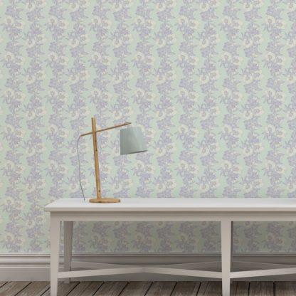 Wandtapete hellblau: Flieder Blumentapete Garten Eden Blüten Ranken, Design Tapete als Wandgestaltung
