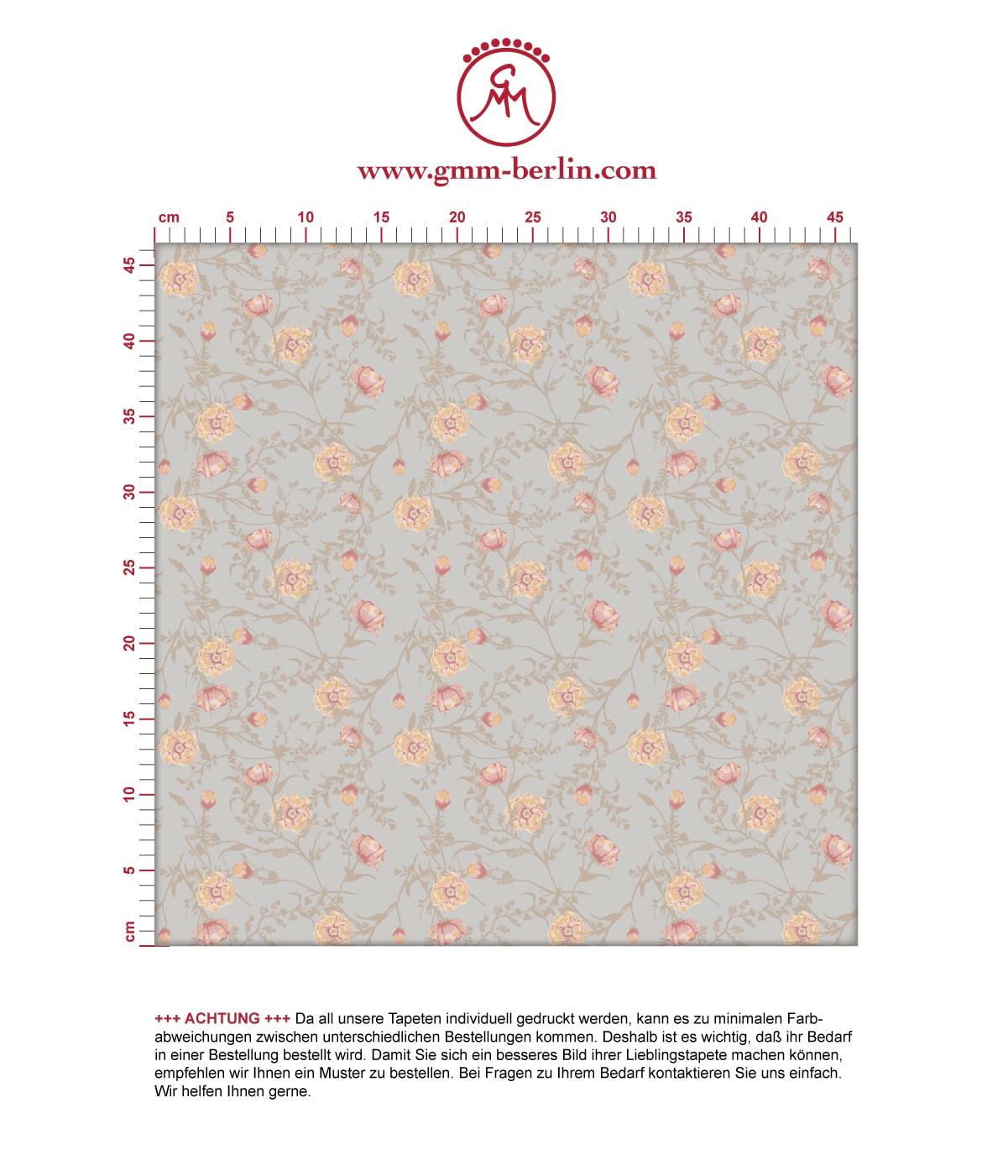 Ranken Blumentapete Printemps in greige, Nostalgietapete als Wandgestaltung. Aus dem GMM-BERLIN.com Sortiment: Schöne Tapeten in der Farbe: hell rosa