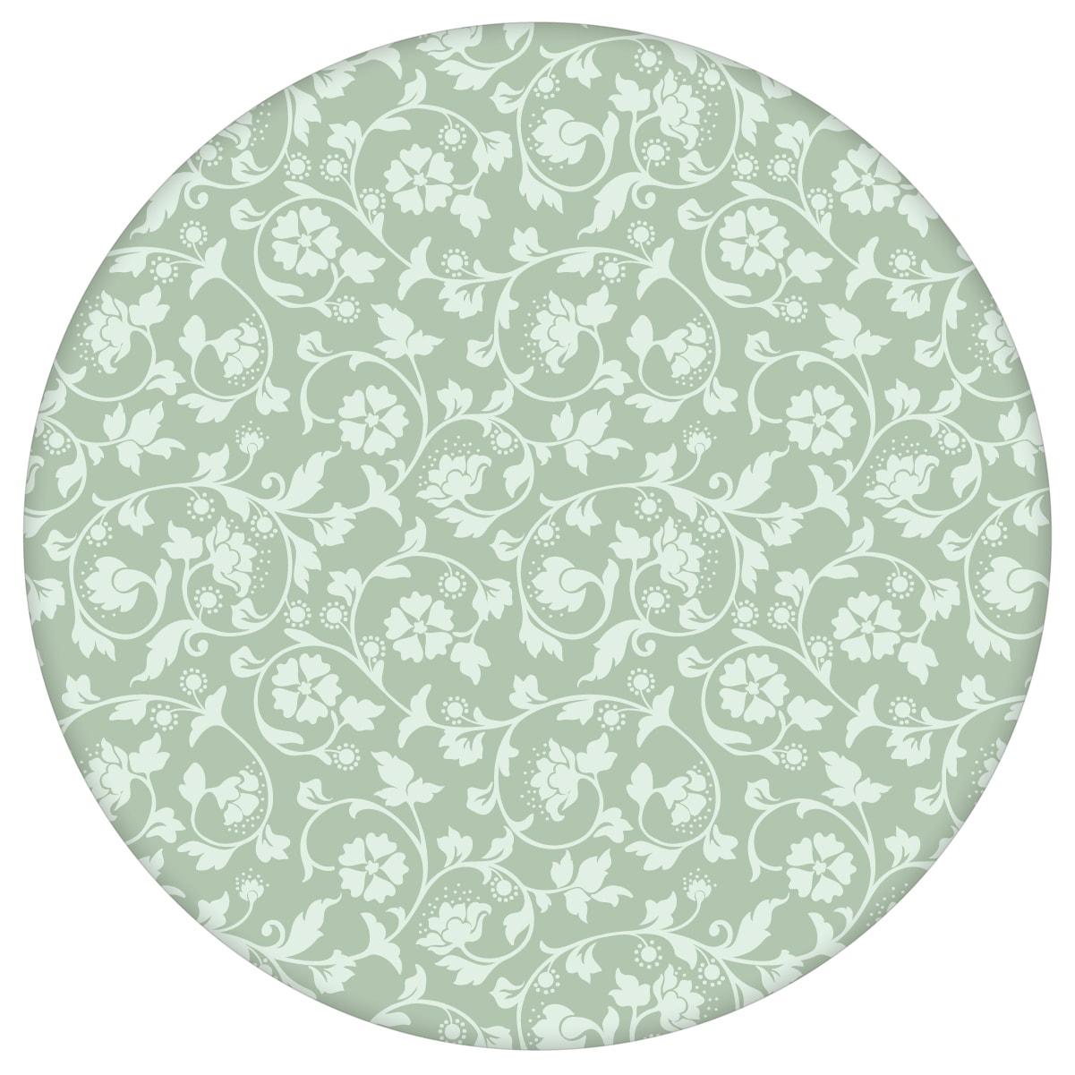 Ornamenttapete Kemenaten Zauber mit Blumen Ranken in mint, Nostalgietapete als Wandgestaltung aus den Tapeten Neuheiten Blumentapeten und Borten als Naturaltouch Luxus Vliestapete oder Basic Vliestapete