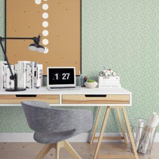 Wandtapete grün: Ornamenttapete Kemenaten Zauber mit Blumen Ranken in mint, Nostalgietapete als Wandgestaltung
