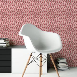 Rote Ornamenttapete Nostalgie Ranken mit Blatt Muster, Vlies Tapete Ornamente als Wandgestaltung