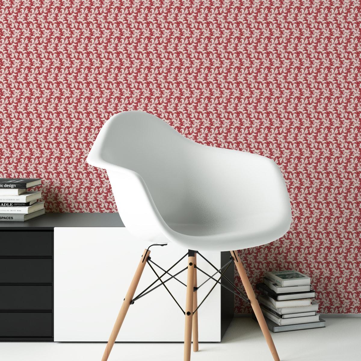Wandtapete dunkel rot: Rote Ornamenttapete Nostalgie Ranken mit Blatt Muster, Vlies Tapete Ornamente als Wandgestaltung