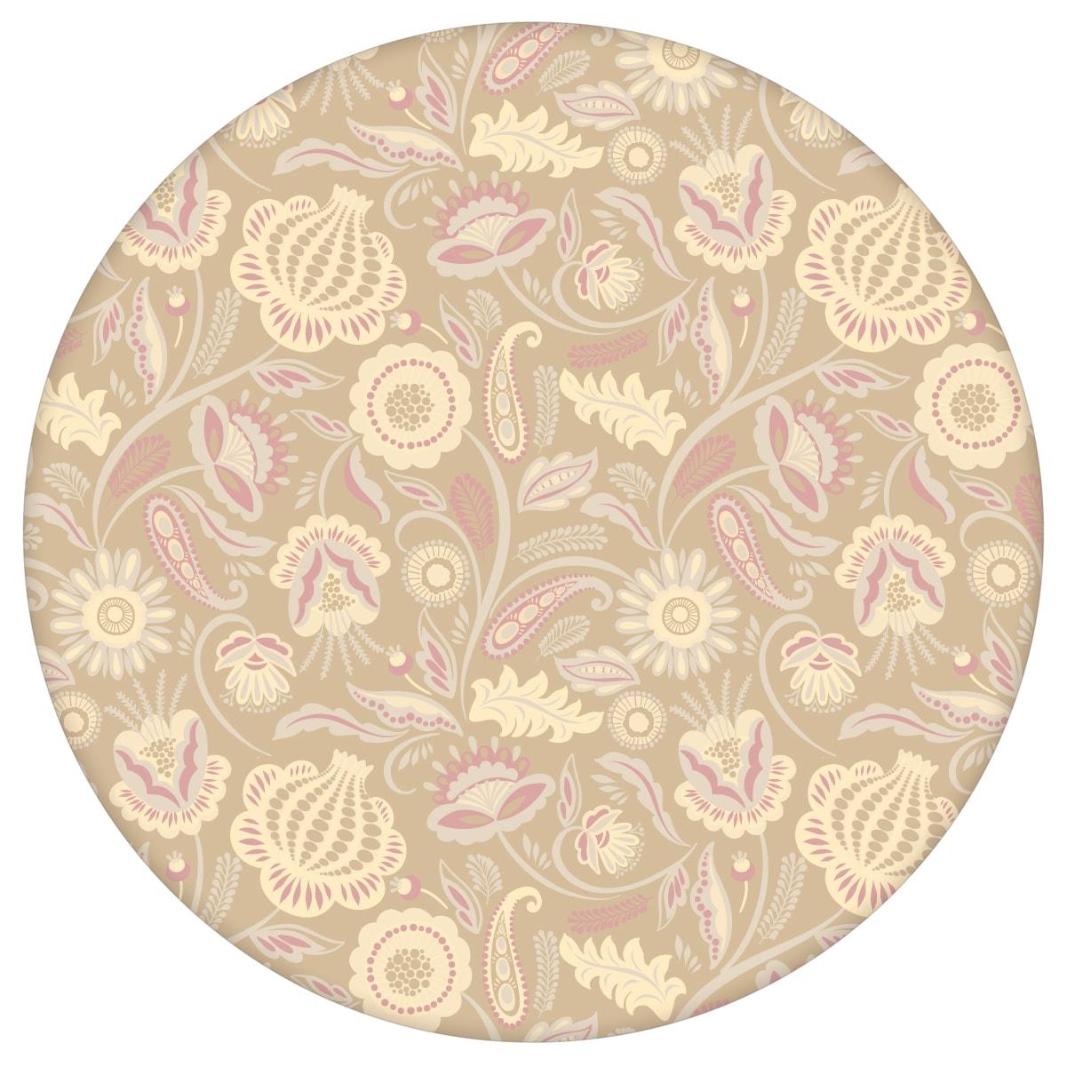 Beige Blumentapete Folklore Garten Vintage Stil, Vliestapete Blumen als Wandgestaltung