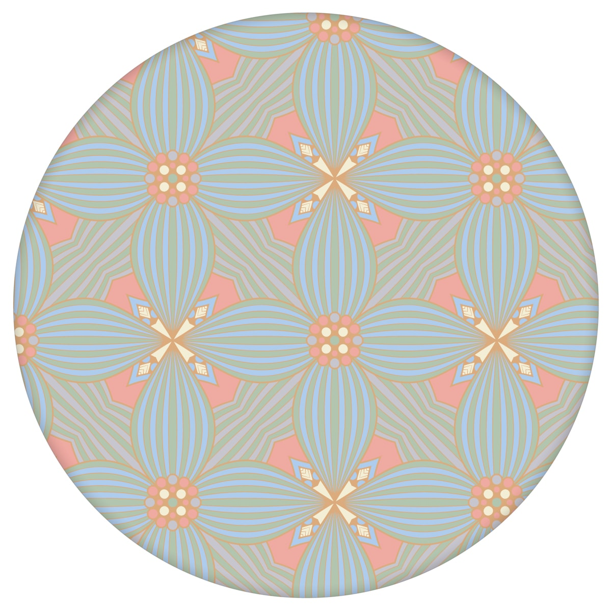 Lilly Ornamenttapete Art Deko Muster groß in pastell blau, Design Tapete als Wandgestaltung aus den Tapeten Neuheiten Exklusive Tapete für schönes Wohnen als Naturaltouch Luxus Vliestapete oder Basic Vliestapete