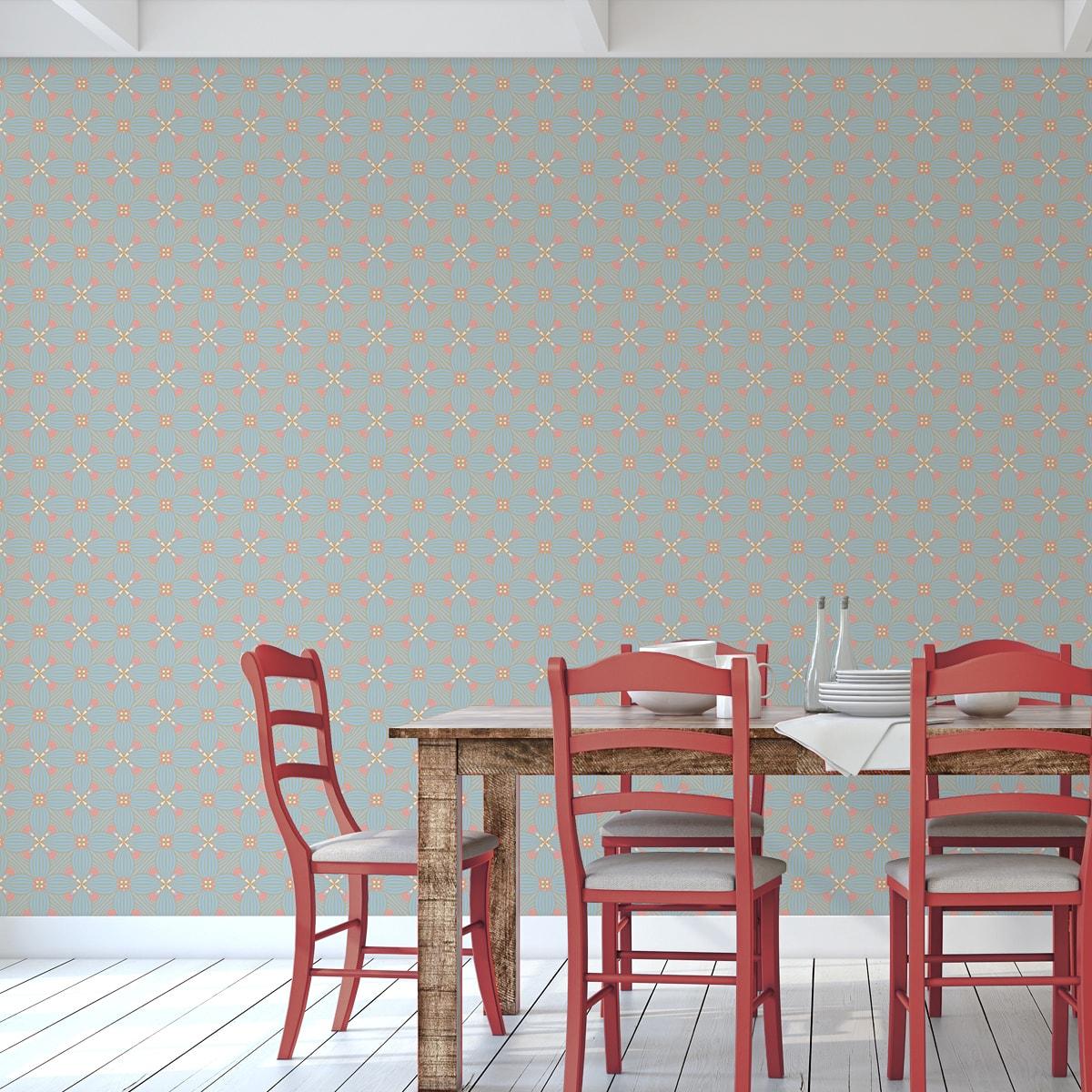 Wandtapete rosa: Lilly Ornamenttapete Art Deko Muster groß in pastell blau, Design Tapete als Wandgestaltung