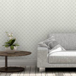 Wandtapete creme: Graue Design Tapete Art Deko Diamant mit grafischer Eleganz, Ornamenttapete