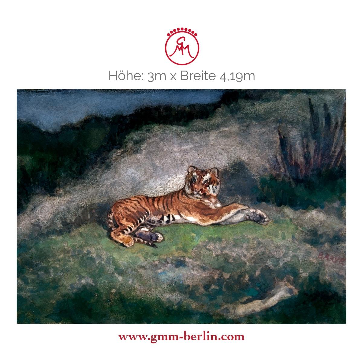 """Dekorative Panorama Tapete: Exotische Künstler Tapete """"der Tiger"""" nach Antoine-Louis Barye"""