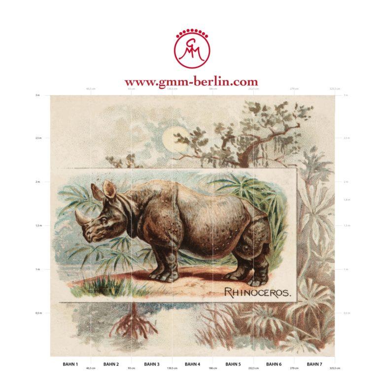"Große Panorama Tapete: Sammler Kunst Tapete ""das Nashorn"" nach der Quadruped Serie 1890"