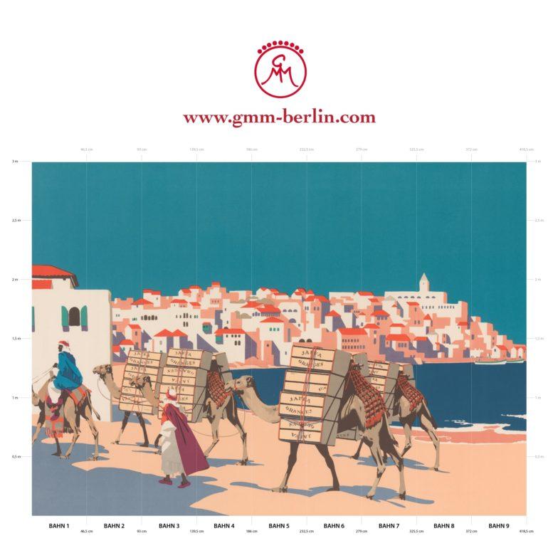 """Große Panorama Tapete: Kunst Tapete """"Die Orangen von Jaffa"""" nach Frank Newbould"""