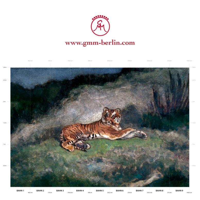 """Große Panorama Tapete: Exotische Künstler Tapete """"der Tiger"""" nach Antoine-Louis Barye"""