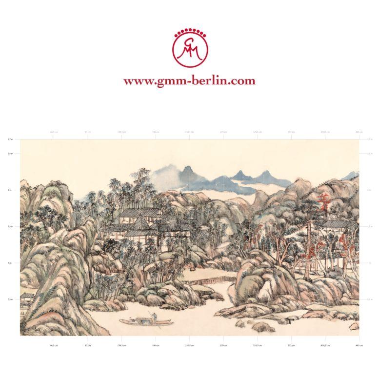 """Große Panorama Tapete: Asiatische Kunst Tapete """"Wangchuan Villa"""" nach Wang Yuanqi"""