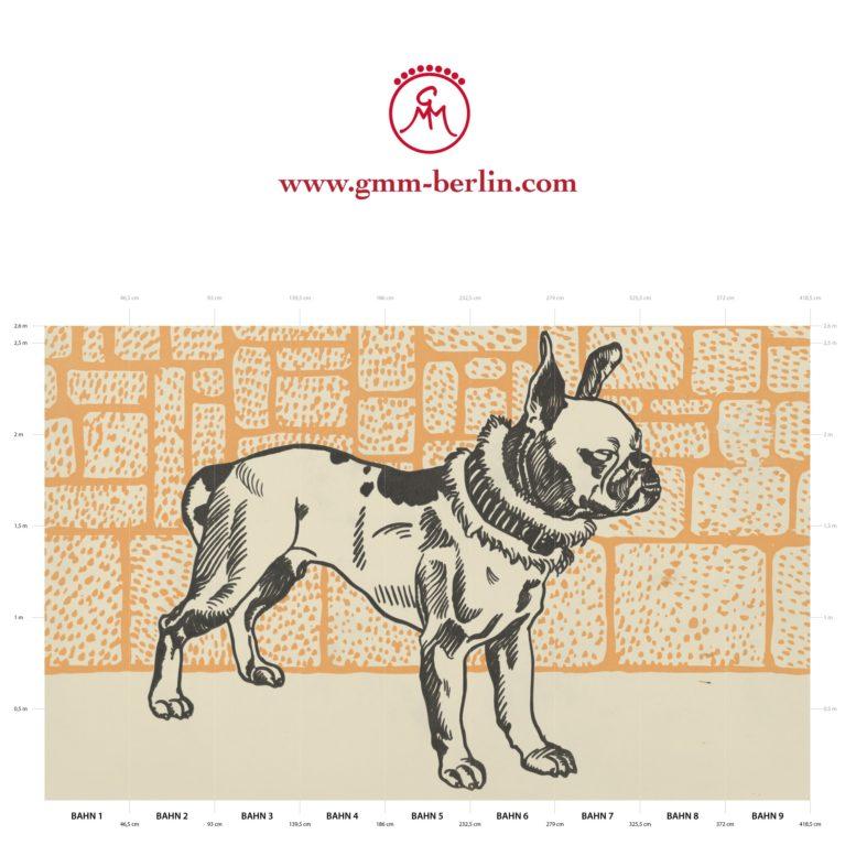 "Großes Tier Wandbild: Dekorative Kunst Tapete ""Der Pitbull"" nach Moriz Jung"