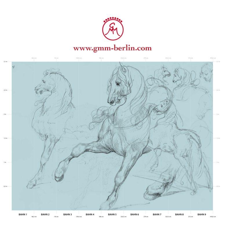 """Große Panorama Tapete: Hellblaue Kunst Tapete """"Pferde Studien"""" nach Théodore Géricault"""