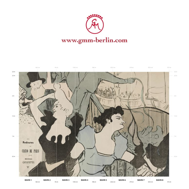 "Große Panoramatapete: Kunst Tapete ""Maskenball im Pariser Casino"" nach Henri de Toulouse-Lautrec"