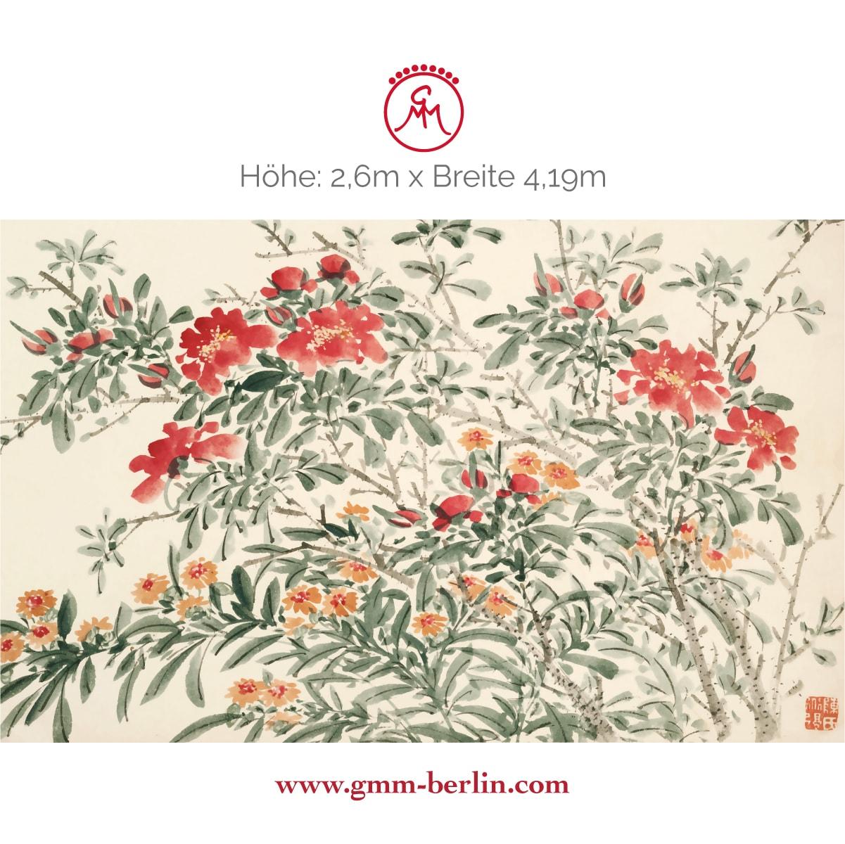 "Exkusive Panoramatapete: Florale Kunst Tapete ""Zierquitte"" nach Chen Chun"