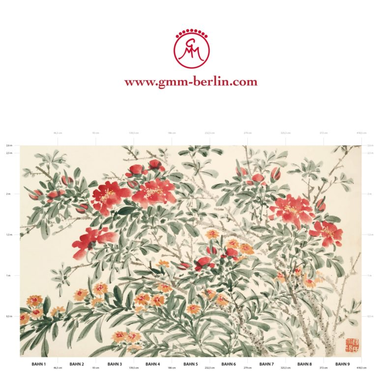 "Große Panoramatapete: Florale Kunst Tapete ""Zierquitte"" nach Chen Chun"