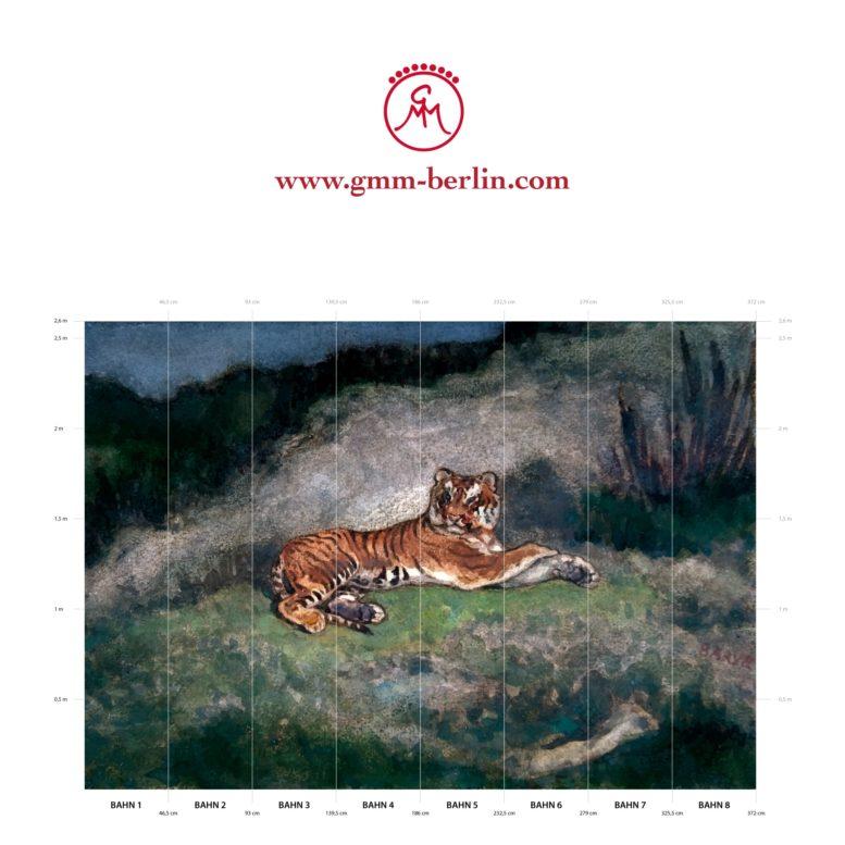 """Großes Panorama Wandbild: Exotische Künstler Tapete """"der Tiger"""" nach Antoine-Louis Barye"""