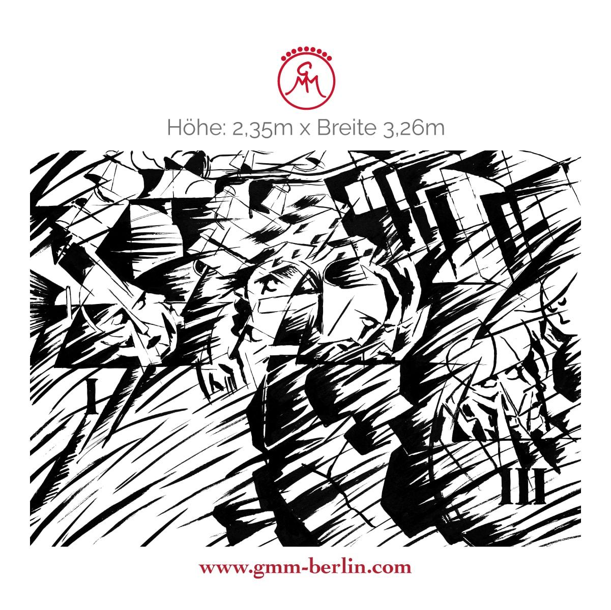 """Exkusive Panoramatapete: Kunst Tapete """"Jene die gehen"""" nach Umberto Boccioni"""