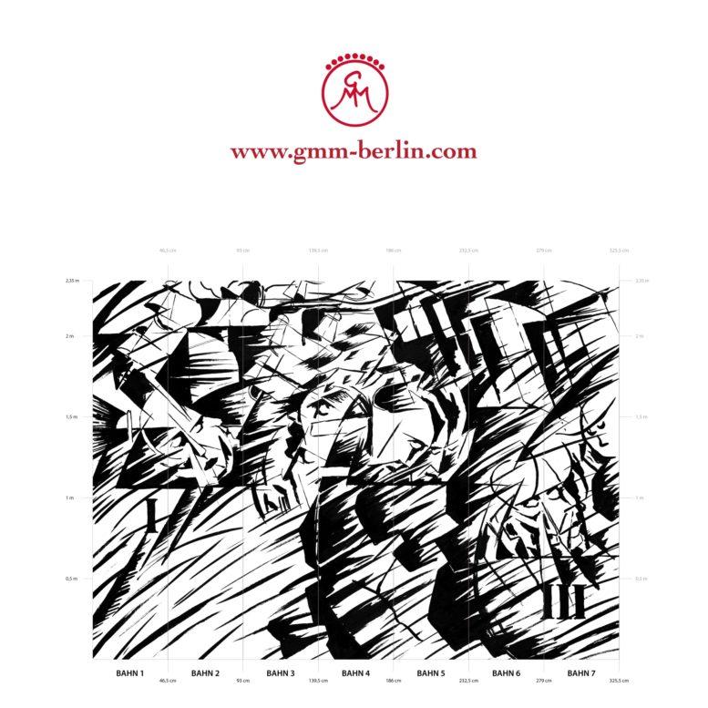 """Große Panoramatapete: Kunst Tapete """"Jene die gehen"""" nach Umberto Boccioni"""