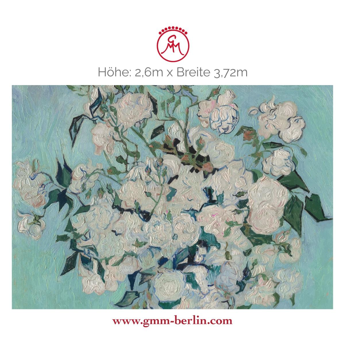 "Exkusive Panoramatapete: Florale Kunst Tapete ""Die Rosen"" nach Vincent Van Gogh"