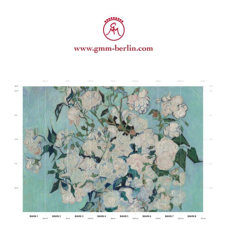 "Große Panoramatapete: Florale Kunst Tapete ""Die Rosen"" nach Vincent Van Gogh"