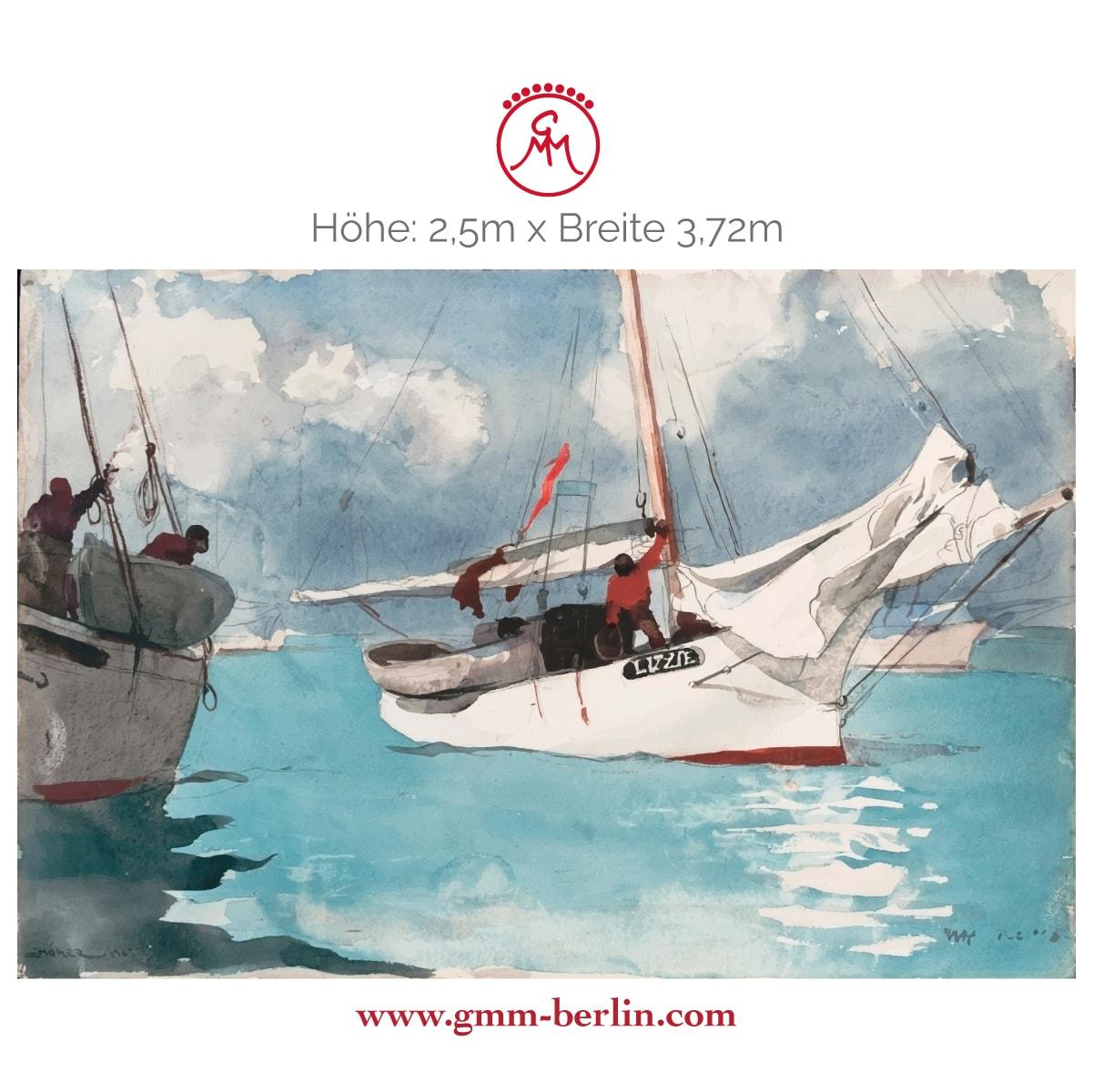 "Exkusive Panoramatapete: Maritime Kunst Tapete ""Fischer Boote, Key West"" nach Winslow Homer"