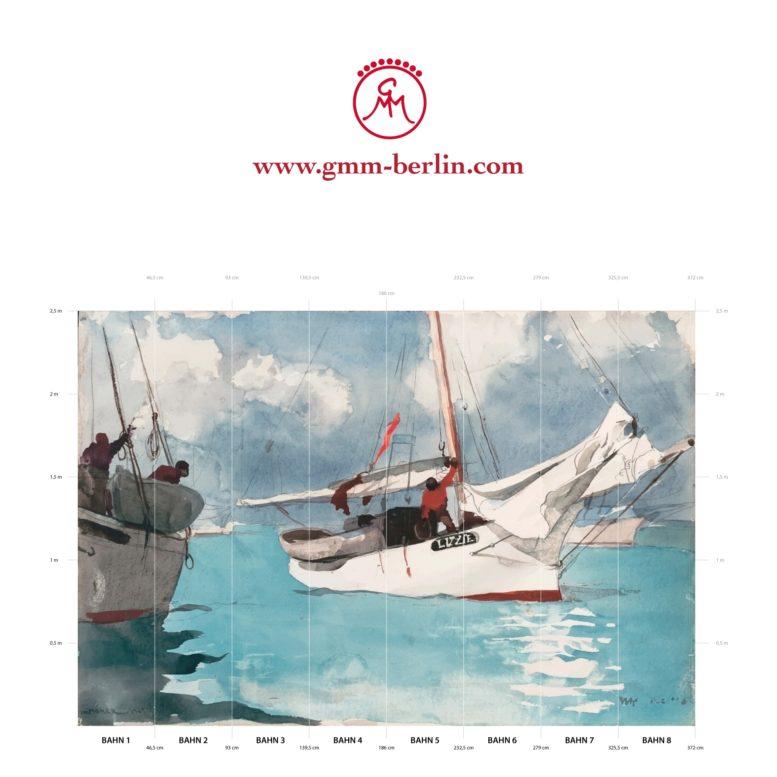 "Große Panoramatapete: Maritime Kunst Tapete ""Fischer Boote, Key West"" nach Winslow Homer"
