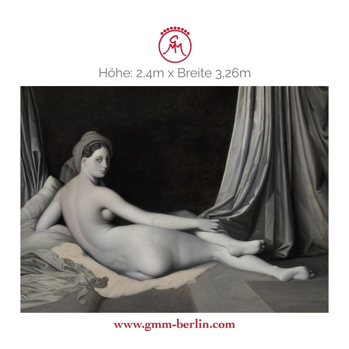 "Exkusive Panoramatapete: Edle Künstler Tapete ""Odalisque in Grisaille"" nach Jean Auguste Ingres"
