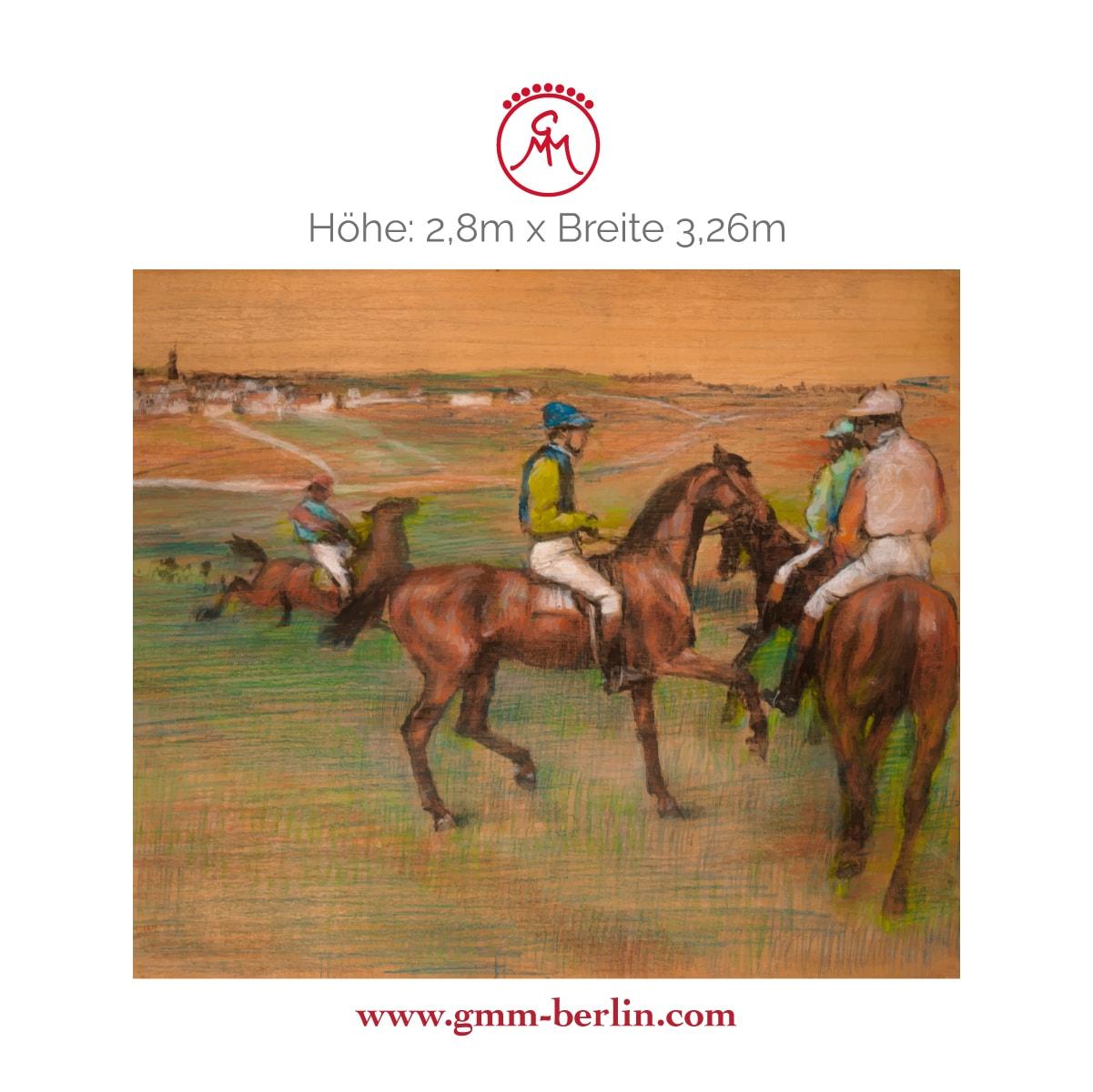 "Exkusive Panoramatapete: Elegante Kunst Tapete ""Rennpferde"" nach Edgar Degas"