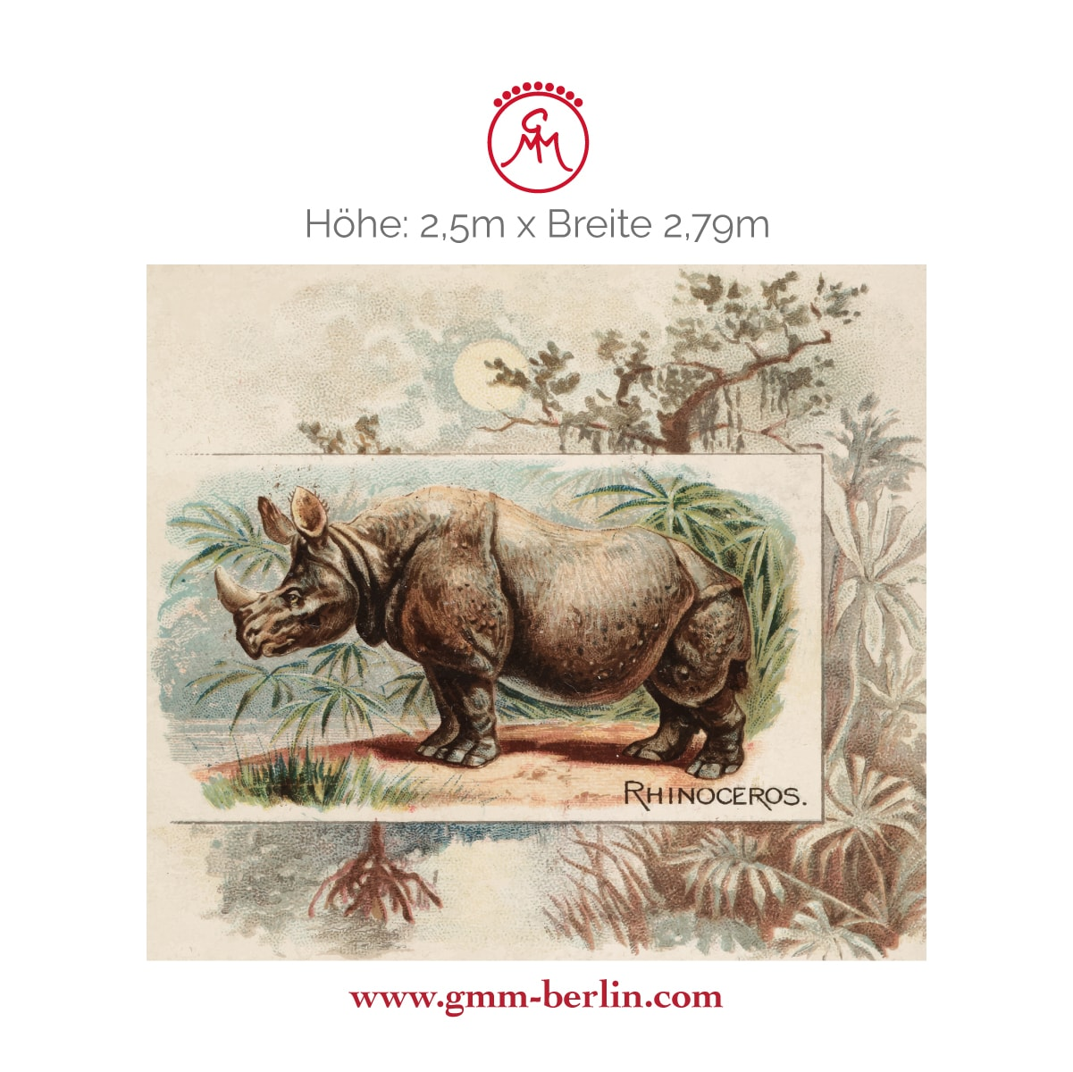 "Exkusives Wandbild: Sammler Kunst Tapete ""das Nashorn"" nach der Quadruped Serie 1890"