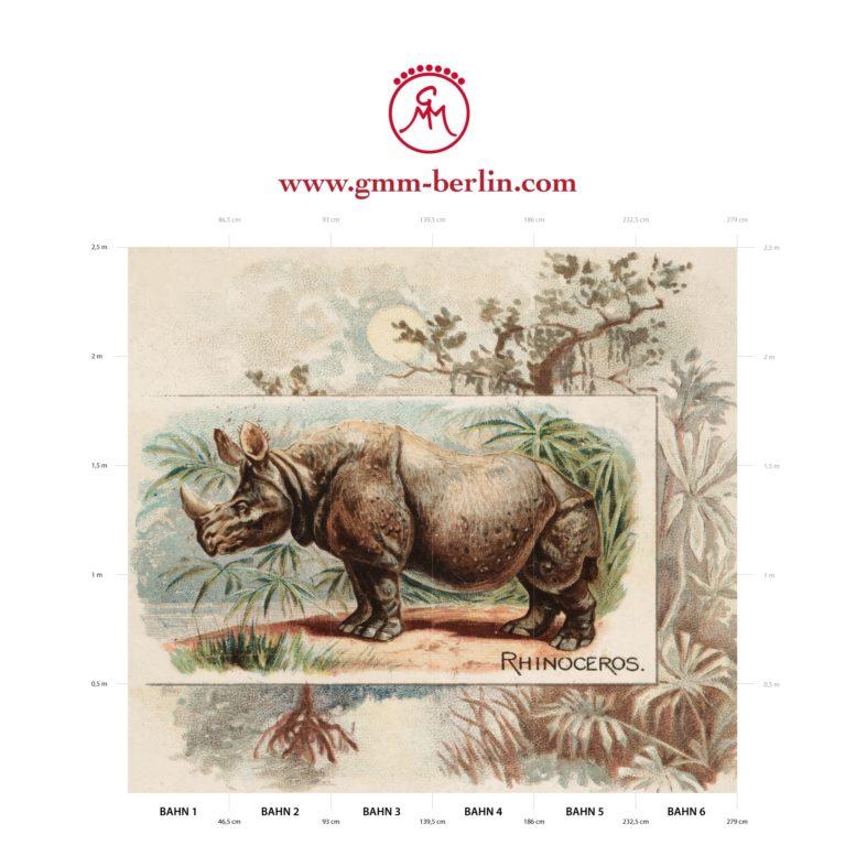 "Großes Panorama Wandbild: Sammler Kunst Tapete ""das Nashorn"" nach der Quadruped Serie 1890"