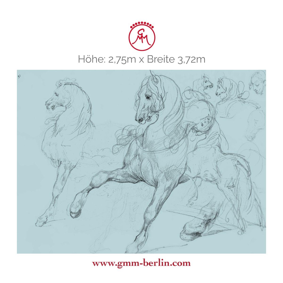 "Exkusive Panoramatapete: Hellblaue Kunst Tapete ""Pferde Studien"" nach Théodore Géricault"