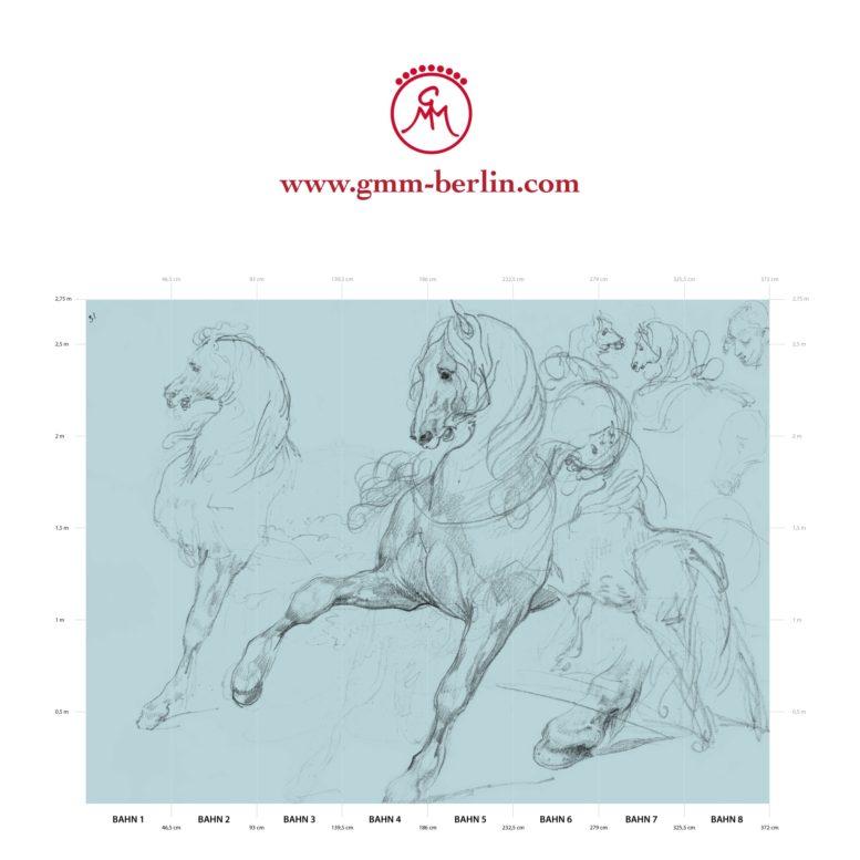 "Große Panoramatapete: Hellblaue Kunst Tapete ""Pferde Studien"" nach Théodore Géricault"