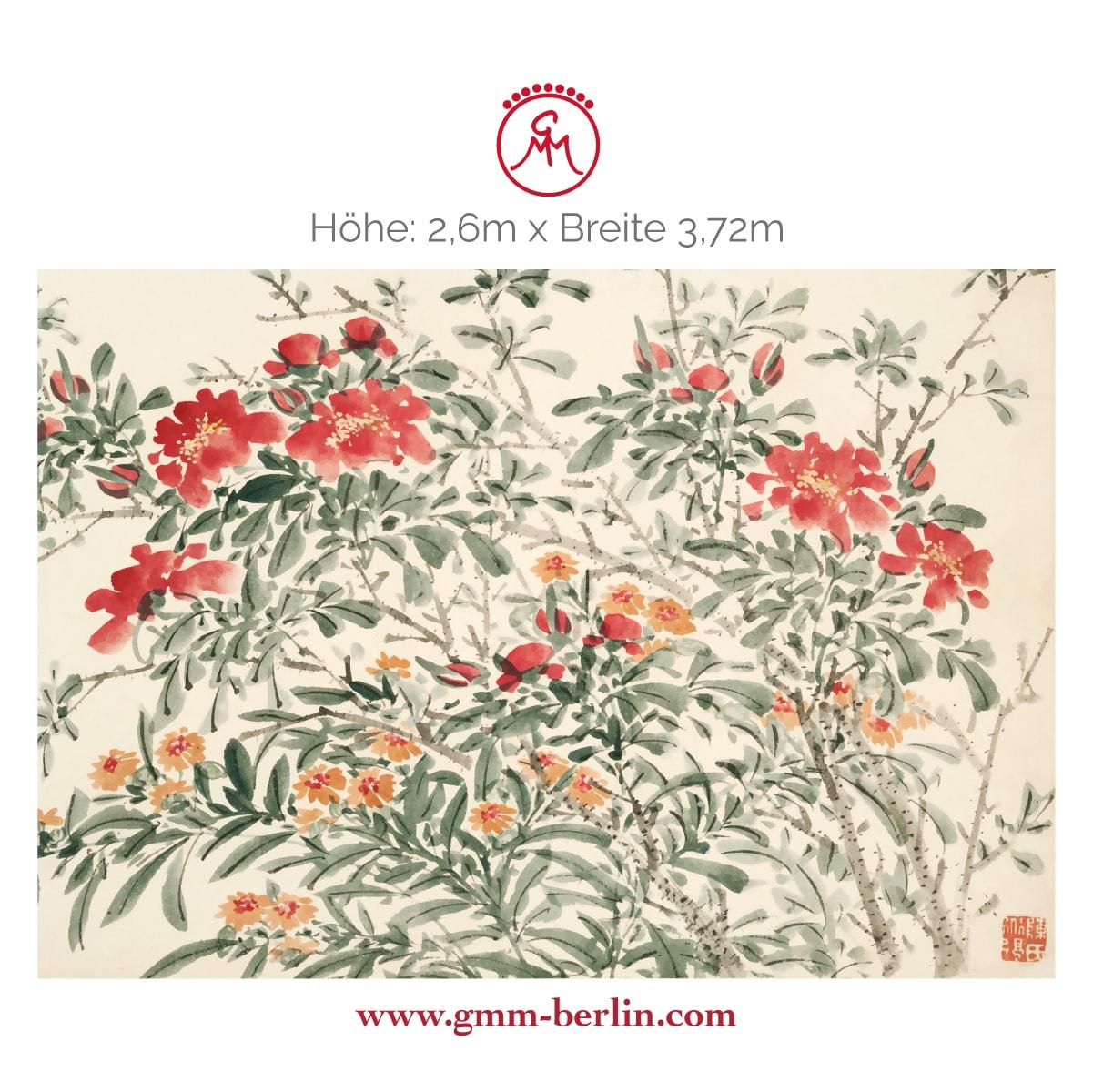 """Dekorative Panorama Tapete: Florale Kunst Tapete """"Zierquitte"""" nach Chen Chun"""
