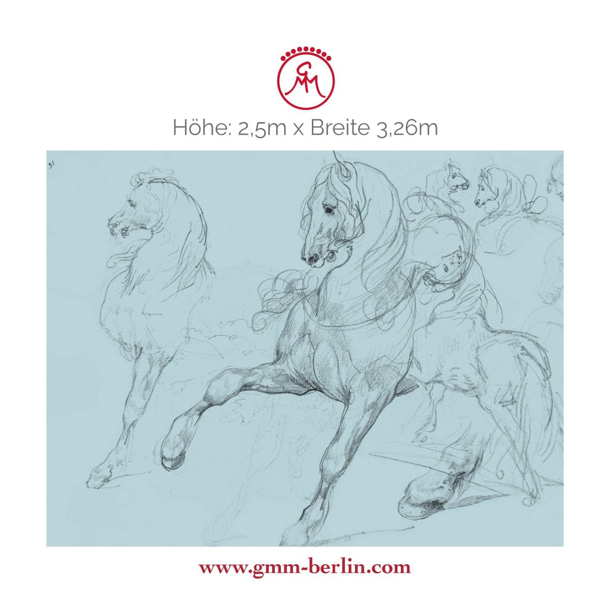 """Exkusives Wandbild: Hellblaue Kunst Tapete """"Pferde Studien"""" nach Théodore Géricault"""