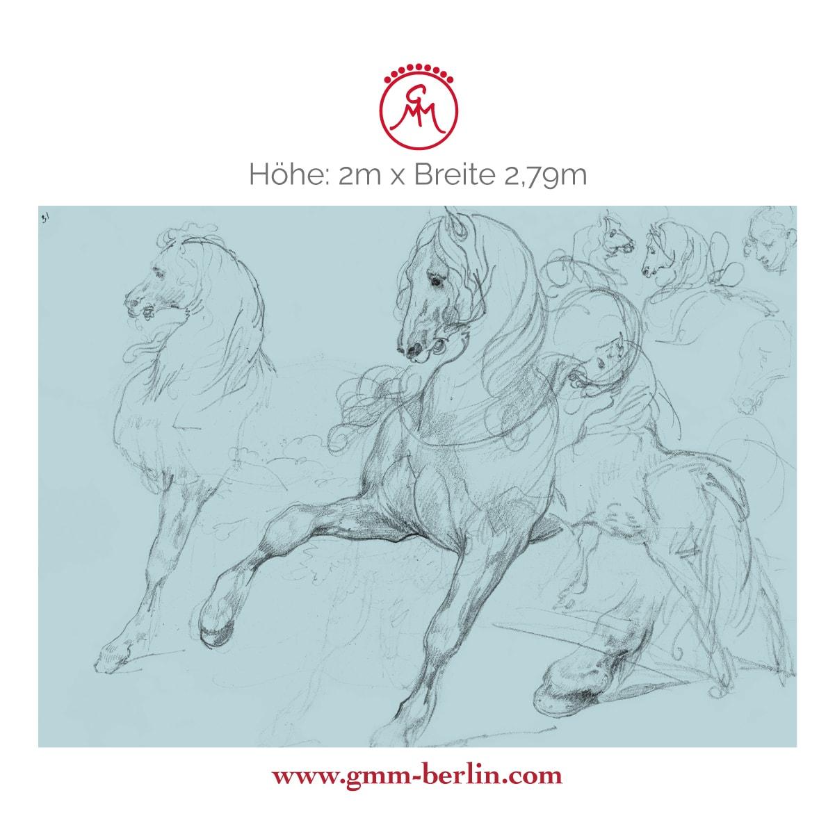 """Dekoratives Pferde Wandbild: Hellblaue Kunst Tapete """"Pferde Studien"""" nach Théodore Géricault"""