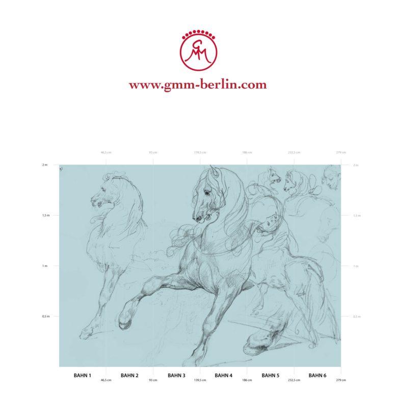 "Großes Tier Wandbild: Hellblaue Kunst Tapete ""Pferde Studien"" nach Théodore Géricault"