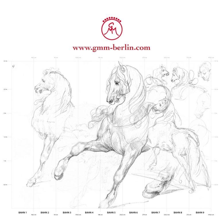"""Großes Reiter Wandbild: Feine Kunsttapete """"Pferde Studien"""" nach Théodore Géricault"""