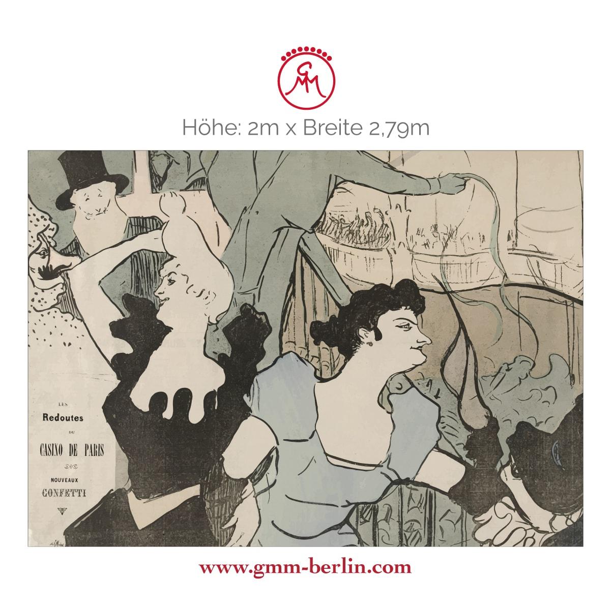 "Exkusive Panoramatapete: Kunst Tapete ""Maskenball im Pariser Casino"" nach Henri de Toulouse-Lautrec"