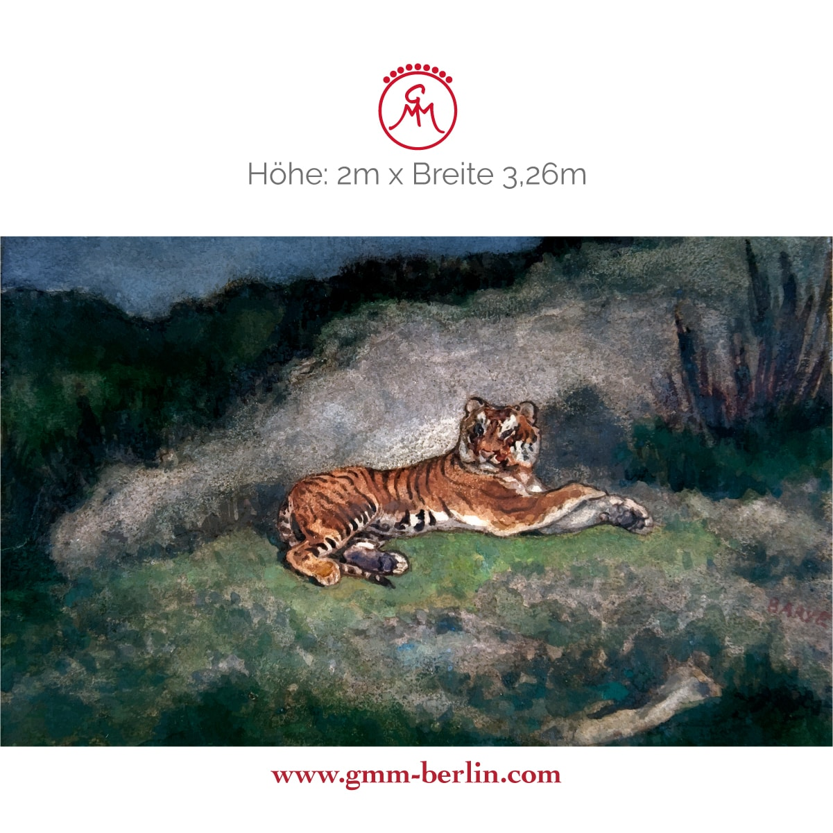 """Dekoratives Wandbild: Exotische Künstler Tapete """"der Tiger"""" nach Antoine-Louis Barye"""