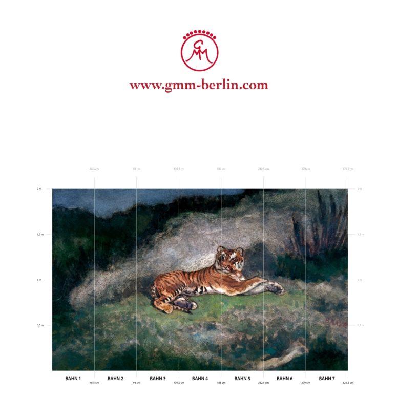 """Großes Tier Wandbild: Exotische Künstler Tapete """"der Tiger"""" nach Antoine-Louis Barye"""