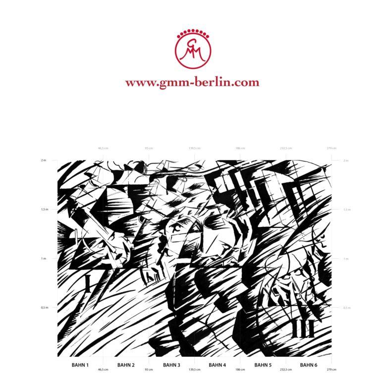 "Große Panorama Tapete: Kunst Tapete ""Jene die gehen"" nach Umberto Boccioni"