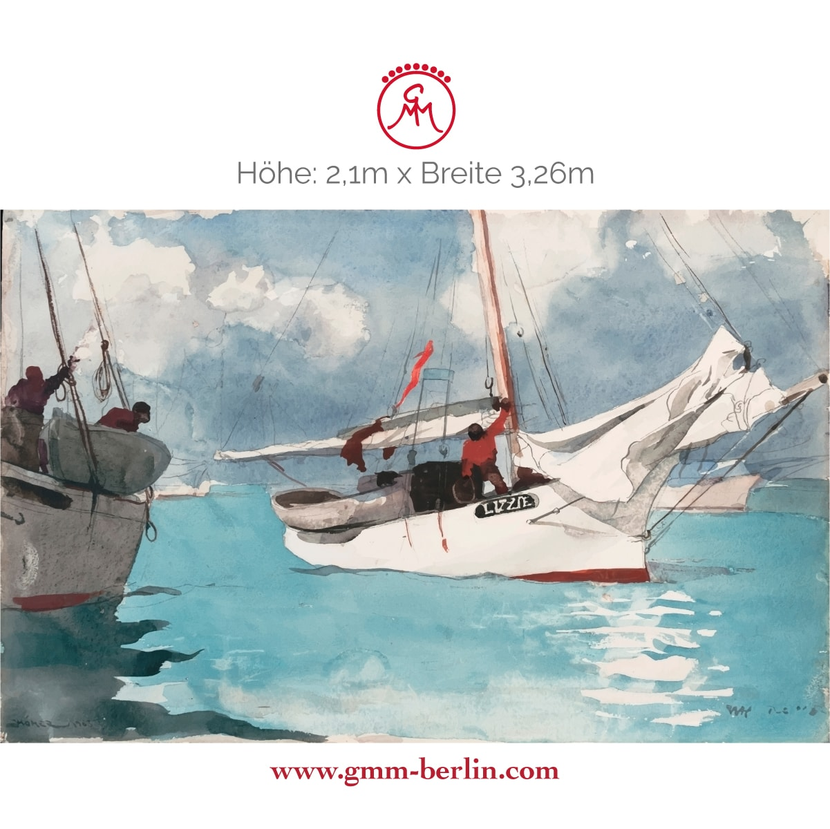 "Dekorative Panorama Tapete: Maritime Kunst Tapete ""Fischer Boote, Key West"" nach Winslow Homer"