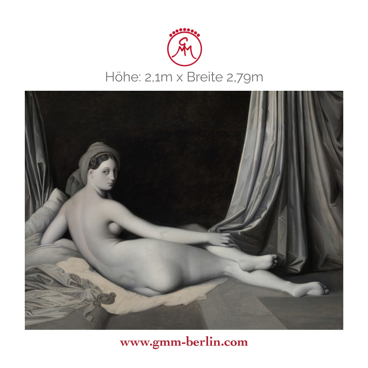 "Dekorative Panorama Tapete: Edle Künstler Tapete ""Odalisque in Grisaille"" nach Jean Auguste Ingres"