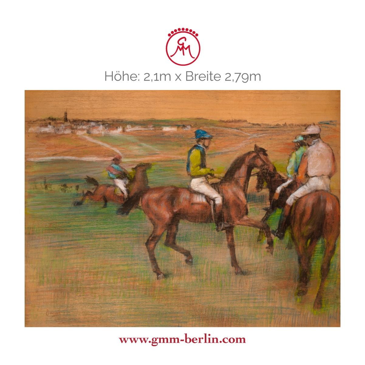 "Dekorative Panorama Tapete: Elegante Kunst Tapete ""Rennpferde"" nach Edgar Degas"