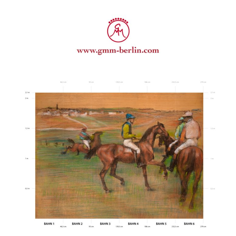 "Große Panorama Tapete: Elegante Kunst Tapete ""Rennpferde"" nach Edgar Degas"